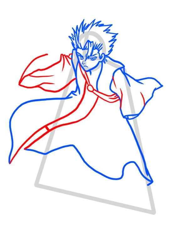 Learn easy to draw Toshiro Hitsugaya Bleach step 05