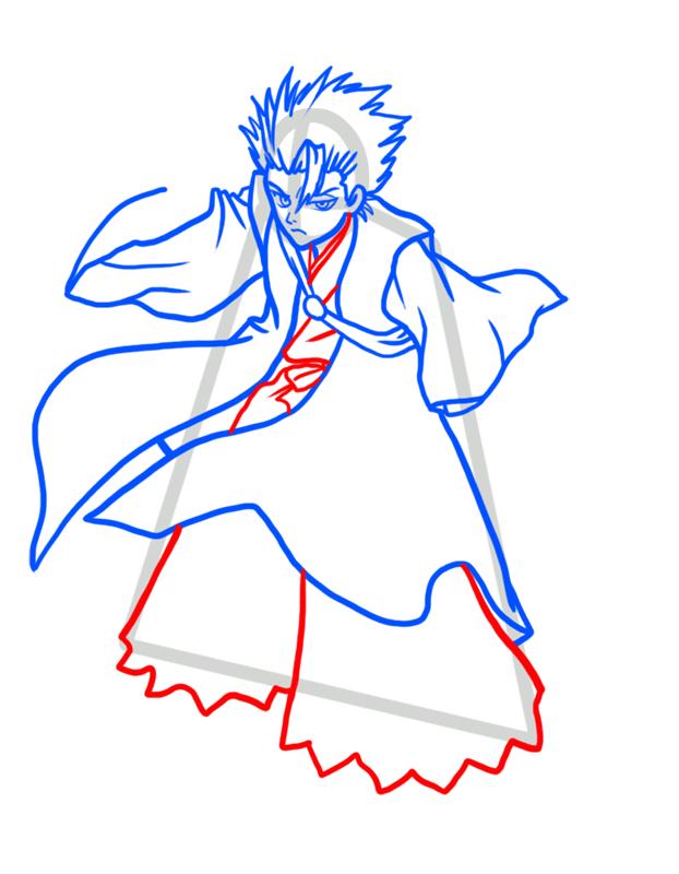 Learn easy to draw Toshiro Hitsugaya Bleach step 06