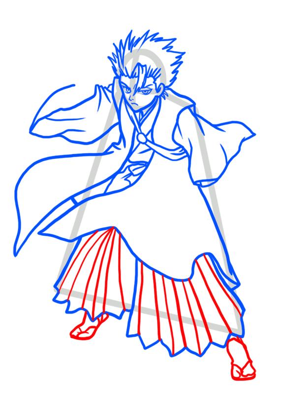 Learn easy to draw Toshiro Hitsugaya Bleach step 07