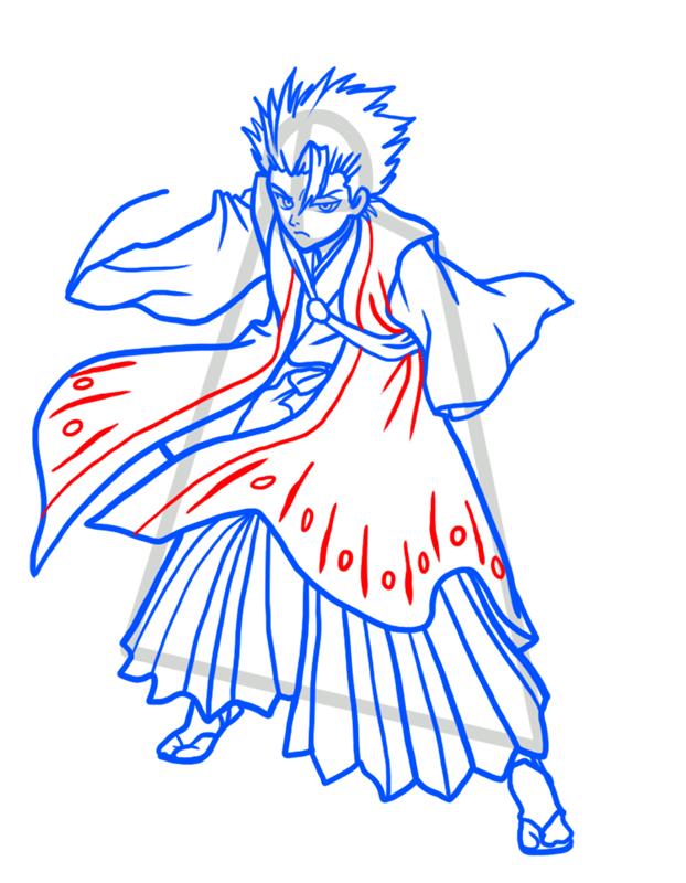 Learn easy to draw Toshiro Hitsugaya Bleach step 08