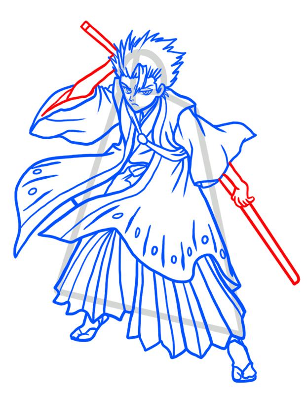 Learn easy to draw Toshiro Hitsugaya Bleach step 09