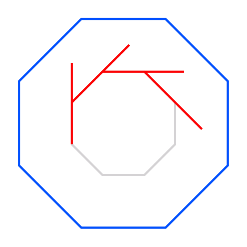 Learn easy to draw Twisted Octagon step 03