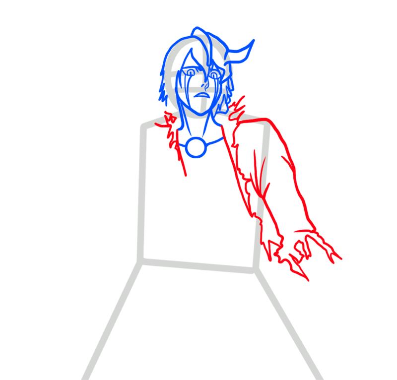 Learn easy to draw Ulquiorra Schiffer Bleach step 04