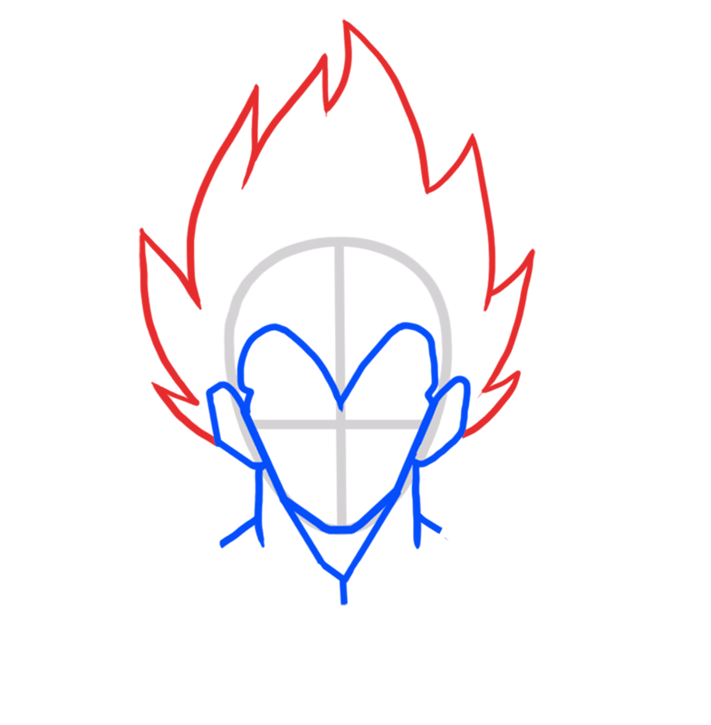 Learn easy to draw Vegita Dragon Ball Z step 03