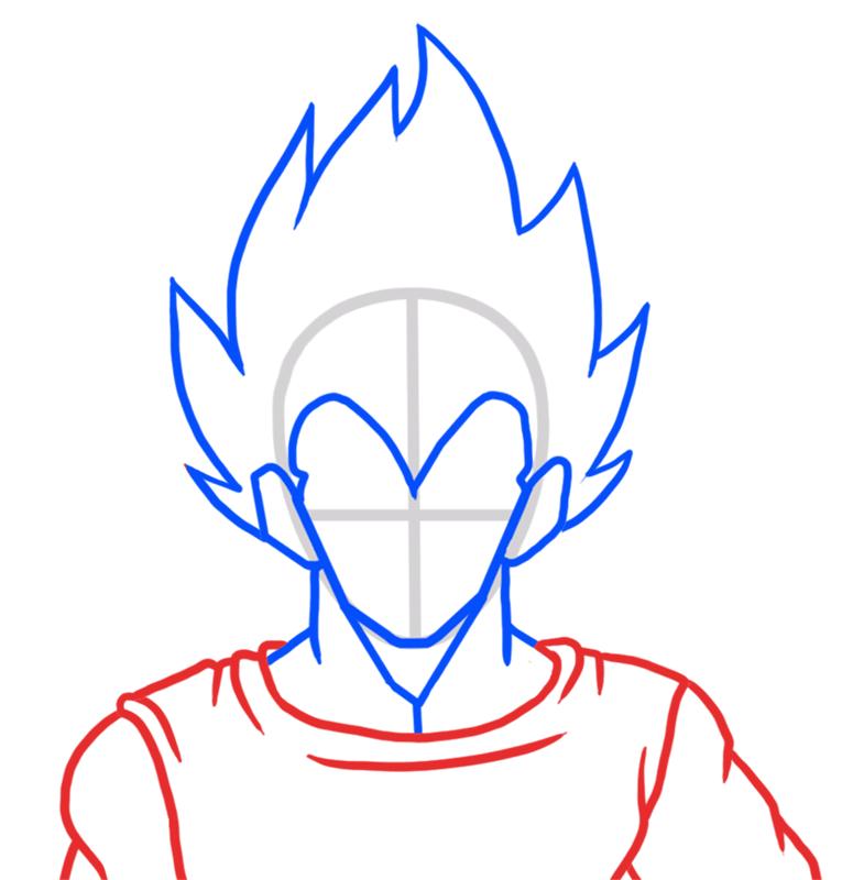 Learn easy to draw Vegita Dragon Ball Z step 04