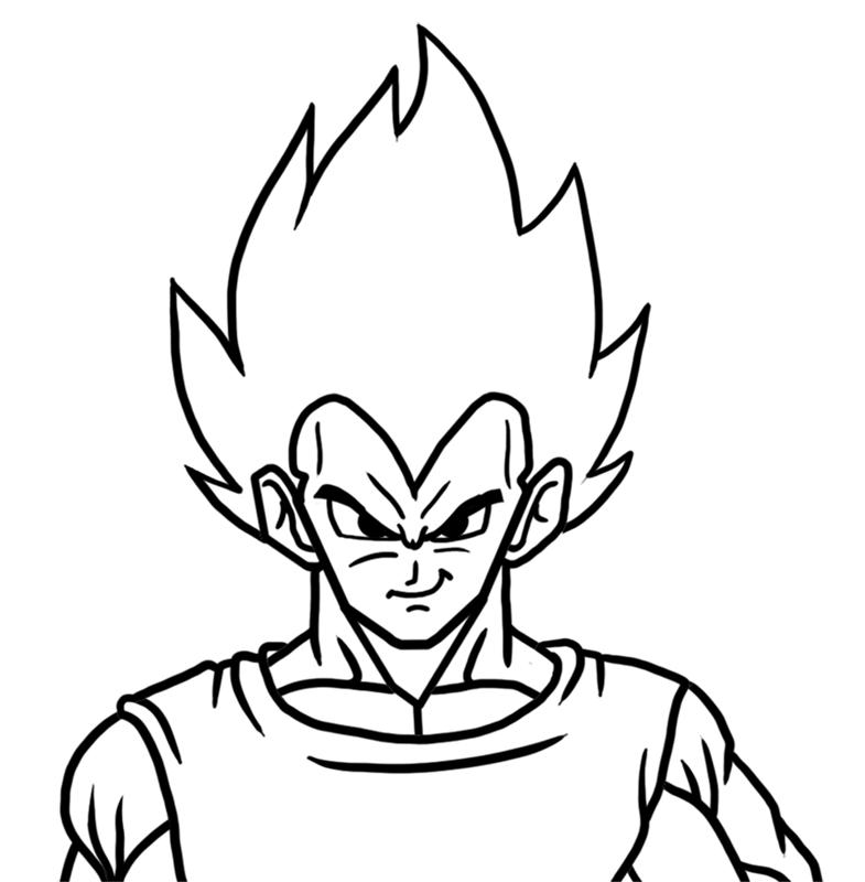 Learn easy to draw Vegita Dragon Ball Z step 06