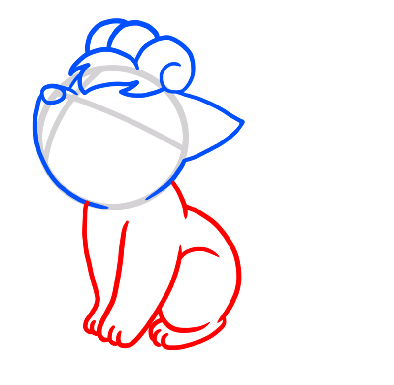 Learn easy to draw Vulpix Pokemons step 03