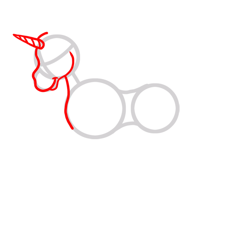 Learn easy to draw White Unicom step 02