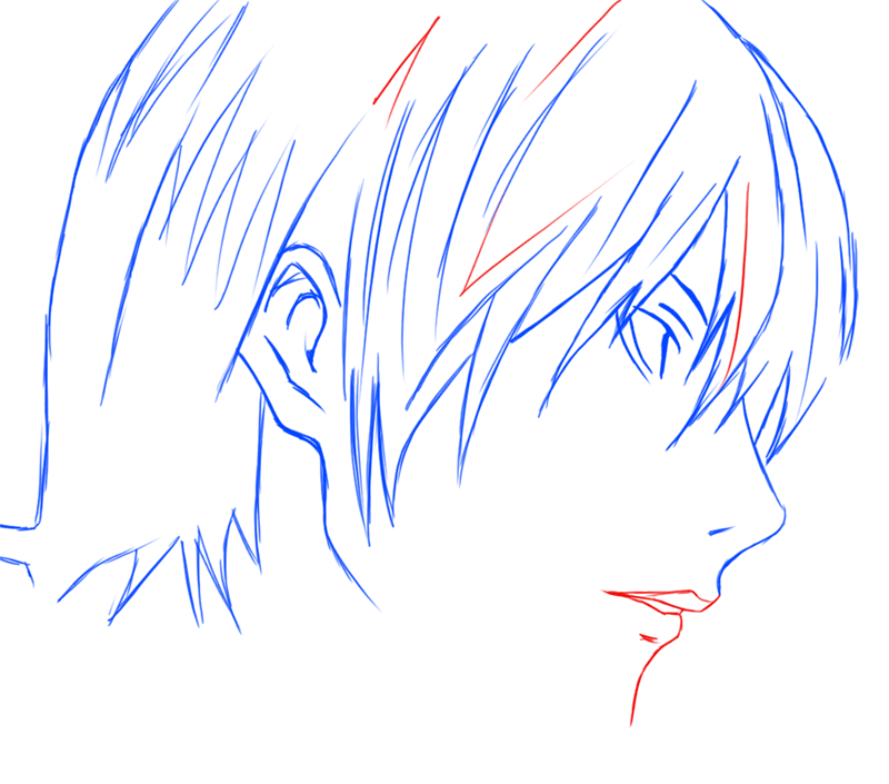 Learn easy to draw Yagami Face Death Note step 08