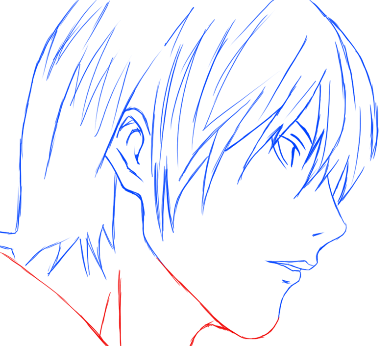 Learn easy to draw Yagami Face Death Note step 09
