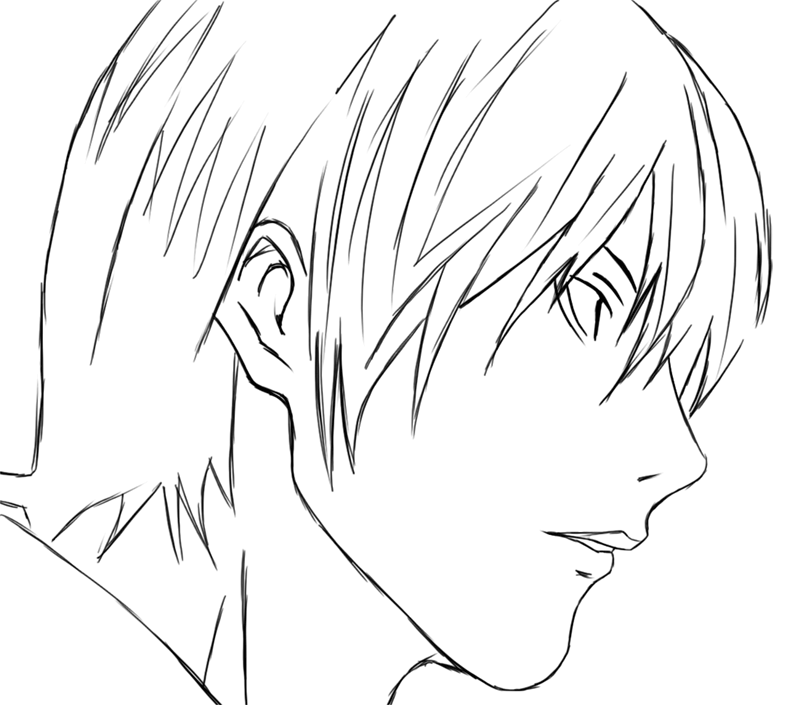 Learn easy to draw Yagami Face Death Note step 10