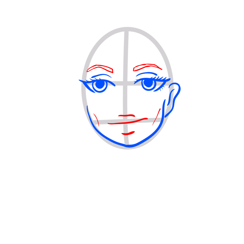 Learn easy to draw Angelina Jolie step 04