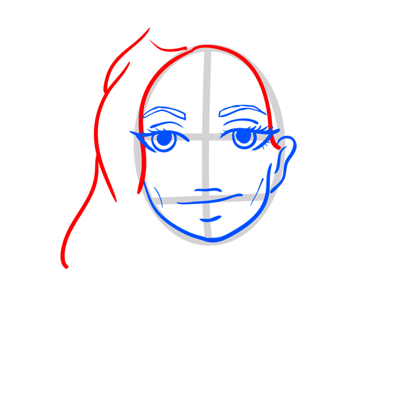 Learn easy to draw Angelina Jolie step 05