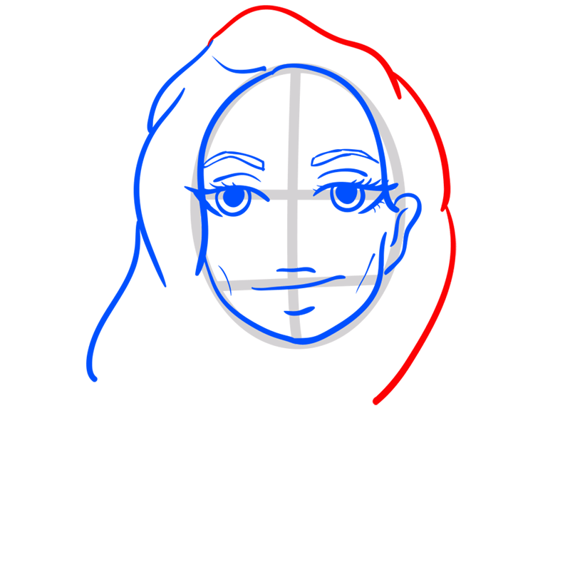 Learn easy to draw Angelina Jolie step 06