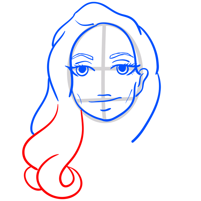 Learn easy to draw Angelina Jolie step 07