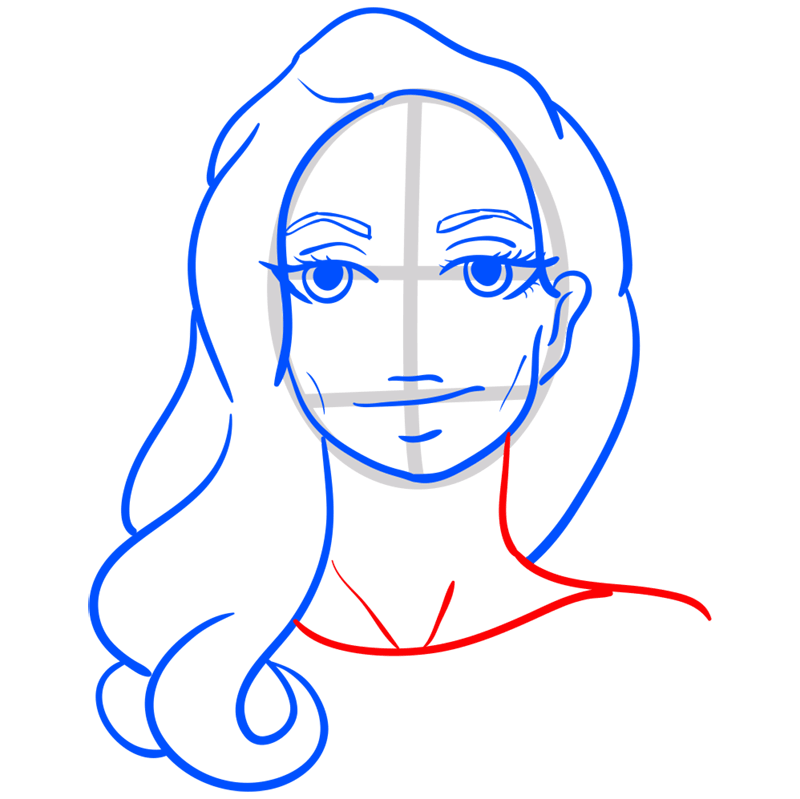 Learn easy to draw Angelina Jolie step 08