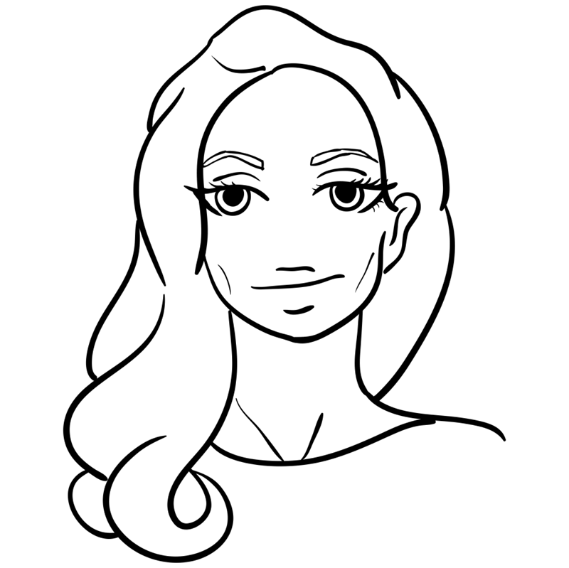 Learn easy to draw Angelina Jolie step 09