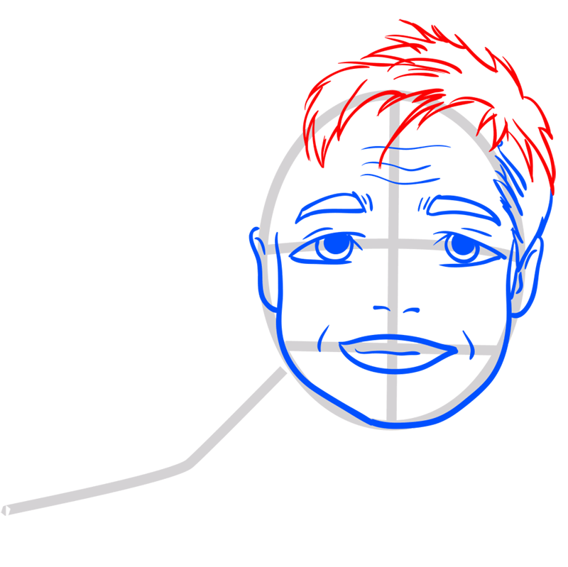 Learn easy to draw Brad Pitt step 07