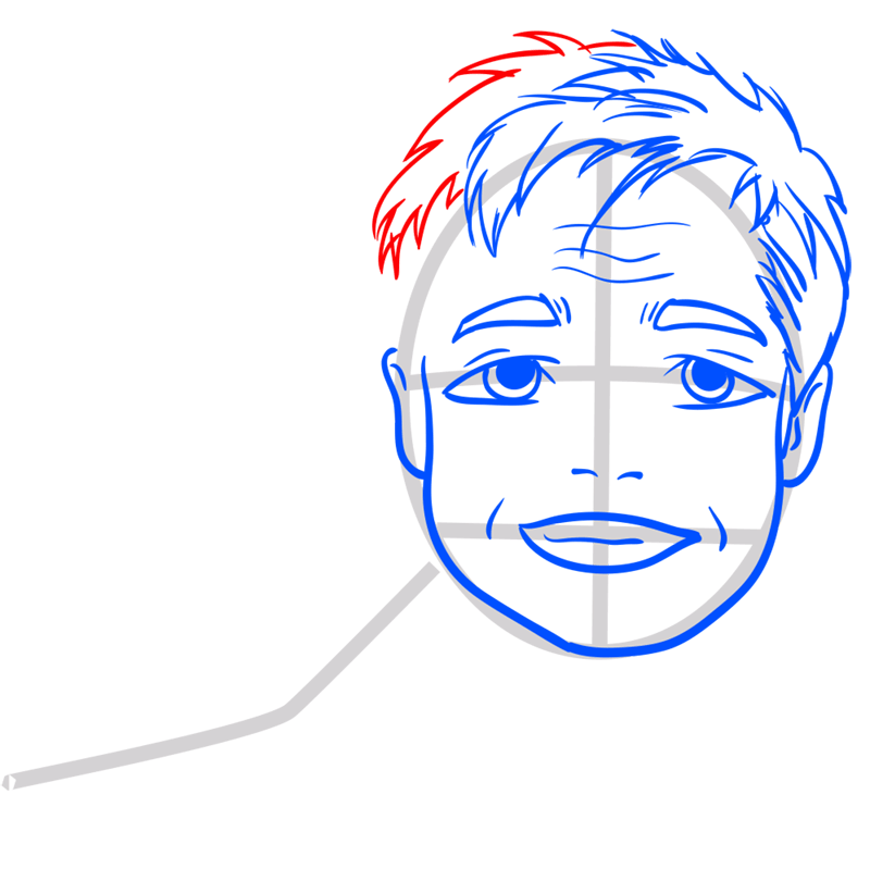 Learn easy to draw Brad Pitt step 08