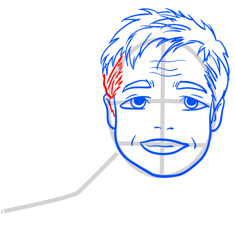 Learn easy to draw Brad Pitt step 09