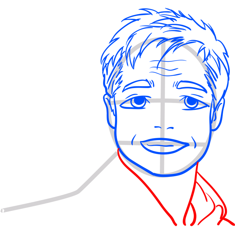 Learn easy to draw Brad Pitt step 10
