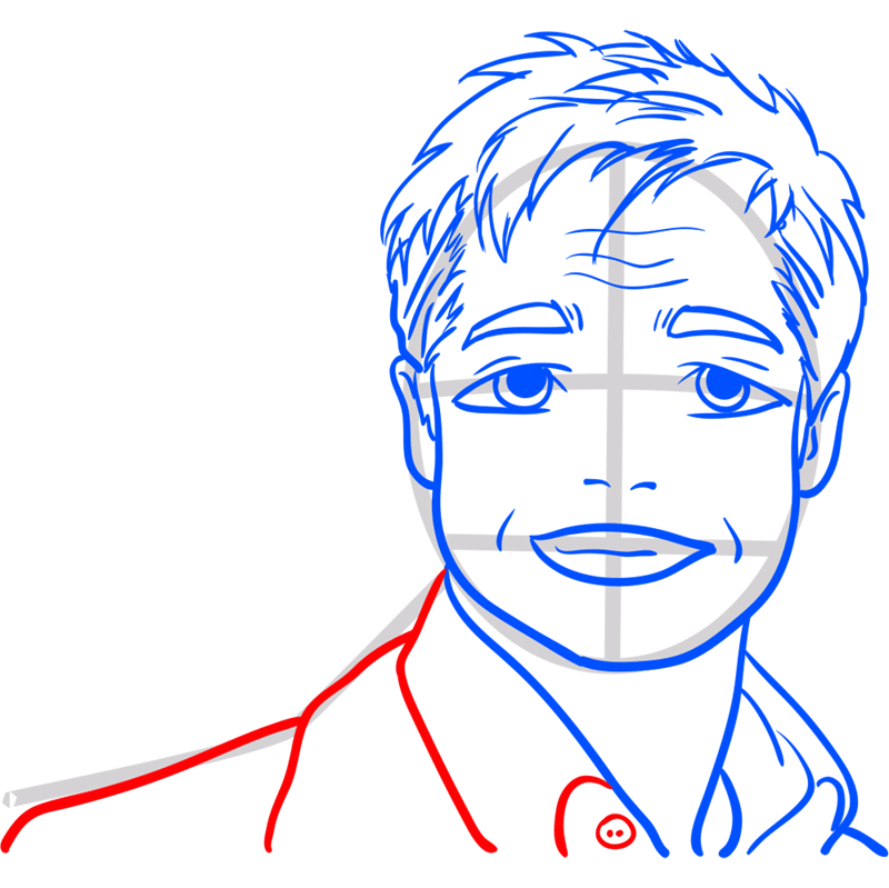 Learn easy to draw Brad Pitt step 11