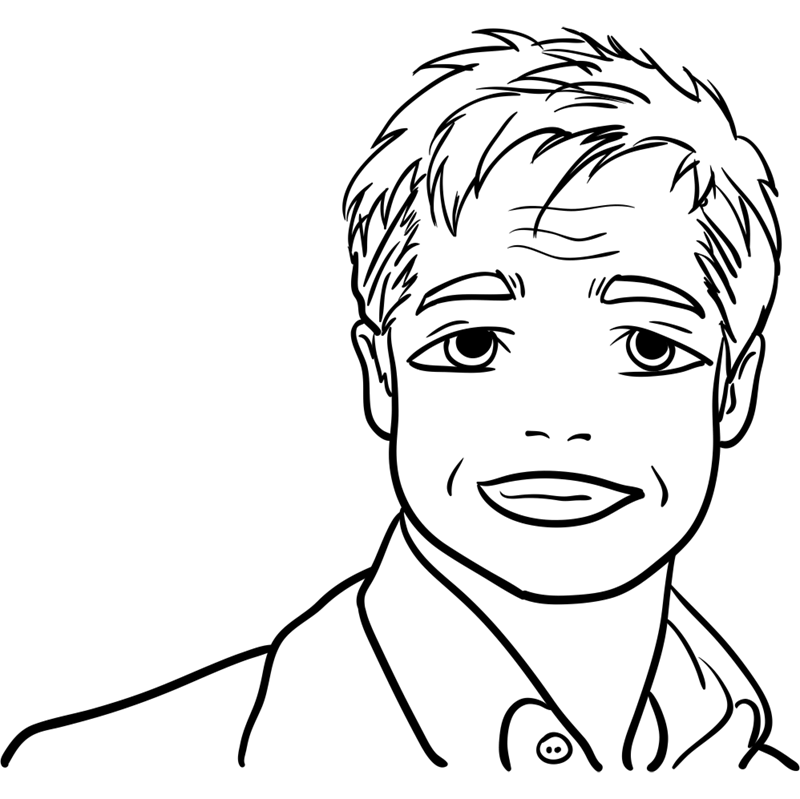 Learn easy to draw Brad Pitt step 12