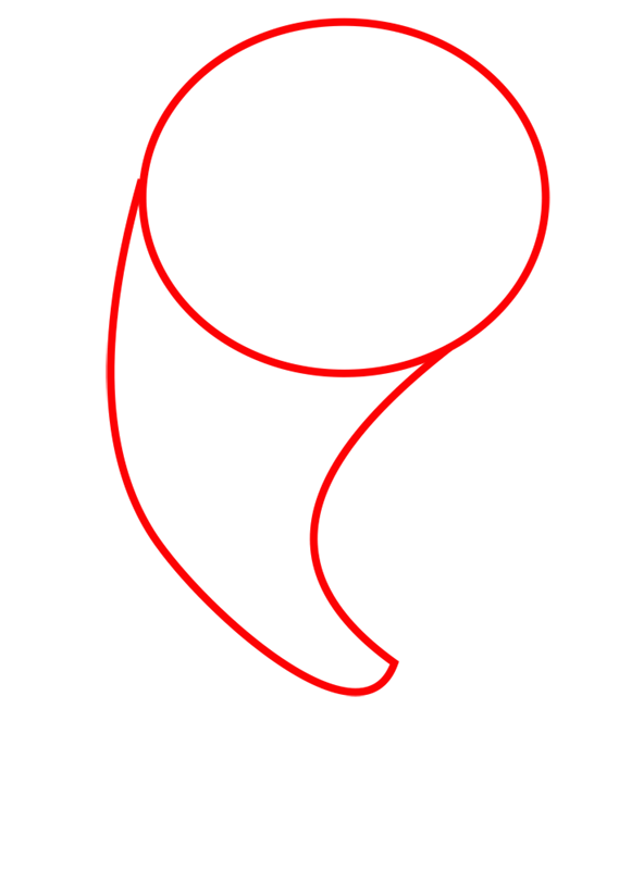 Learn easy to draw Dolphin step 01