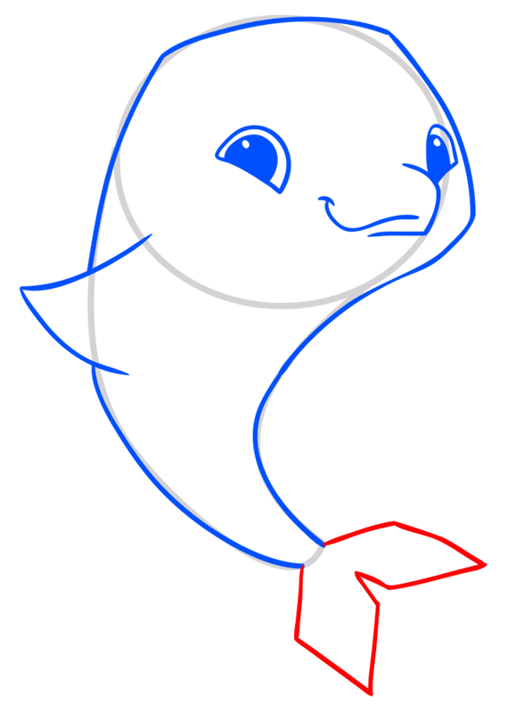 Learn easy to draw Dolphin step 06