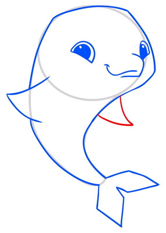 Learn easy to draw Dolphin step 07