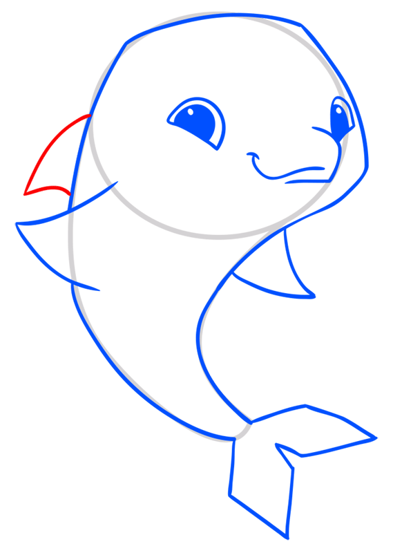 Learn easy to draw Dolphin step 08