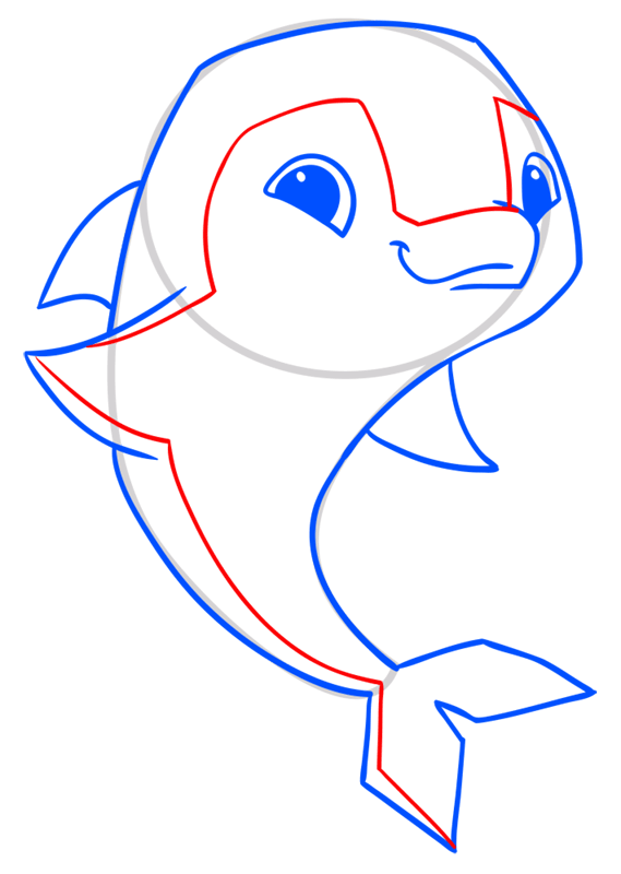 Learn easy to draw Dolphin step 09