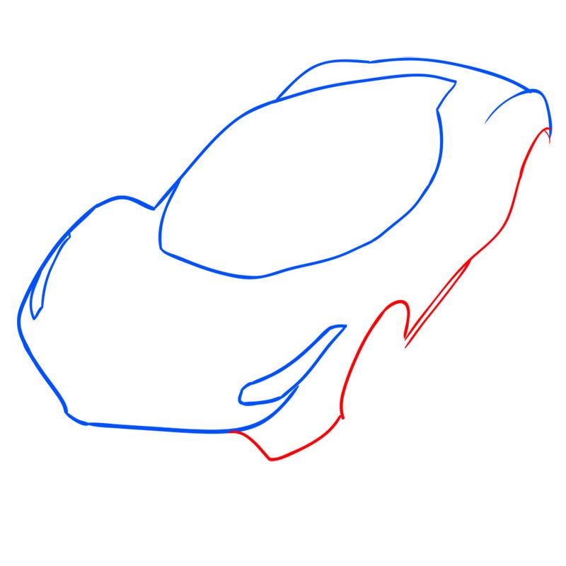 Learn easy to draw Ferrari LaFerrari step 05