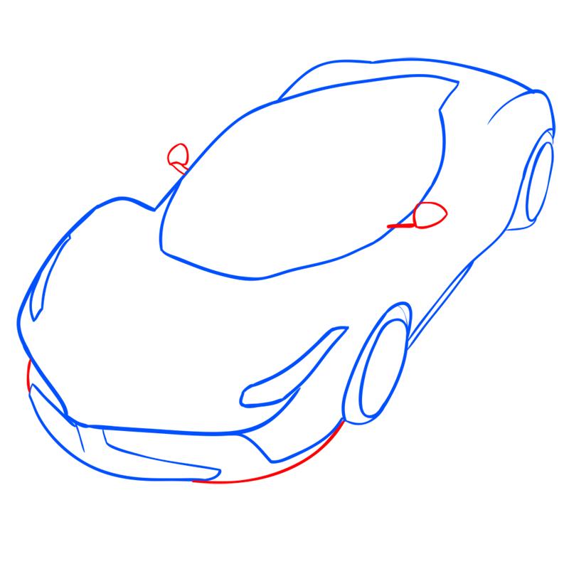 Learn easy to draw Ferrari LaFerrari step 07