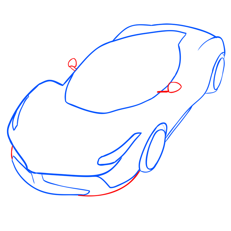 Learn easy to draw Ferrari LaFerrari step 08