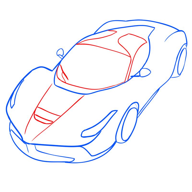 Learn easy to draw Ferrari LaFerrari step 09