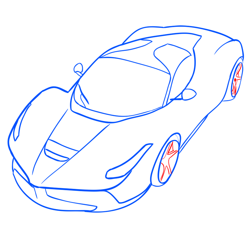 Learn easy to draw Ferrari LaFerrari step 10