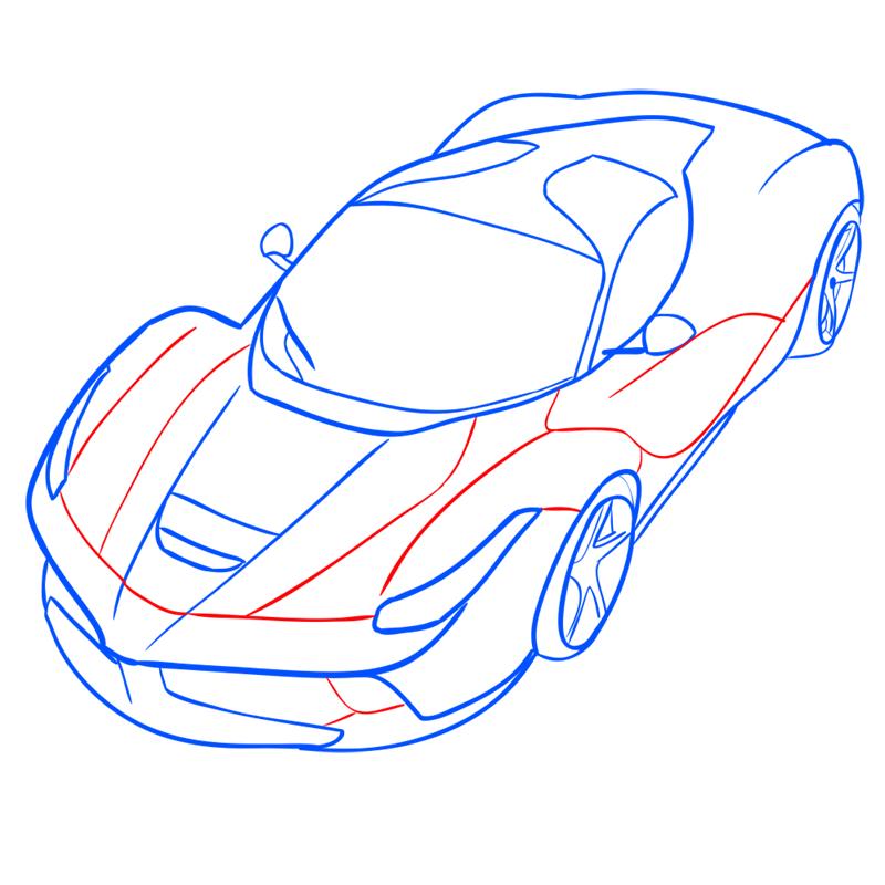 Learn easy to draw Ferrari LaFerrari step 11
