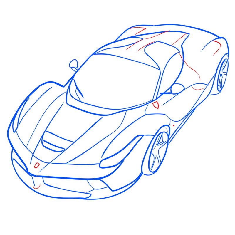 Learn easy to draw Ferrari LaFerrari step 12