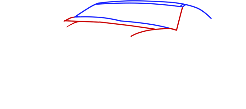 Learn easy to draw Ford GT step 02