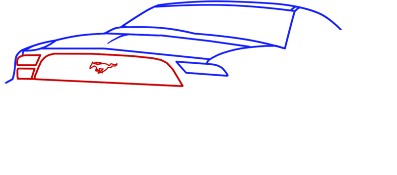 Learn easy to draw Ford GT step 04