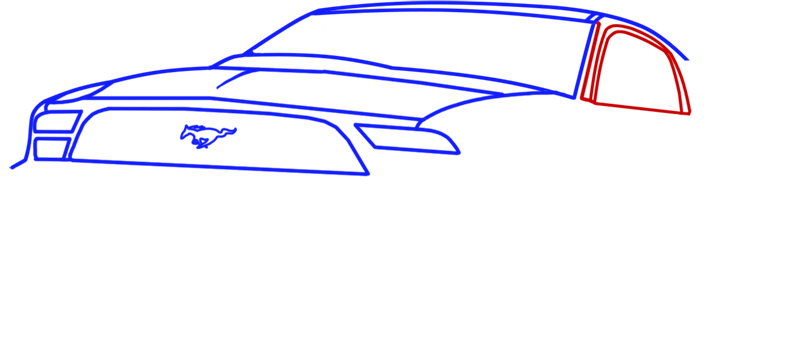 Learn easy to draw Ford GT step 05