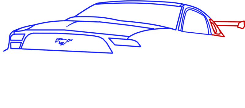 Learn easy to draw Ford GT step 06