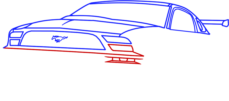 Learn easy to draw Ford GT step 07