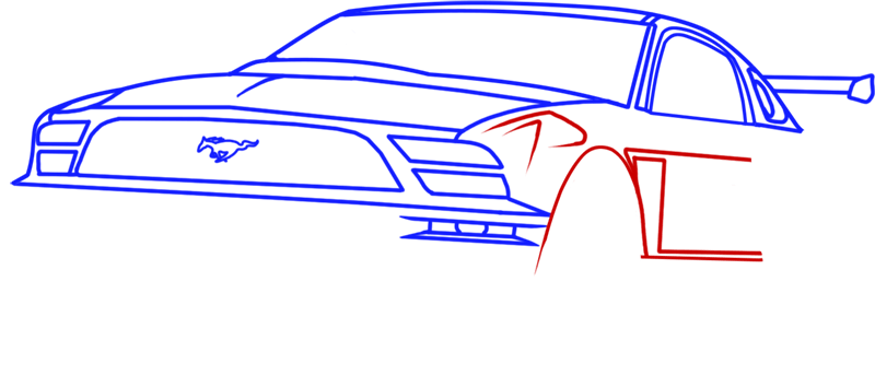 Learn easy to draw Ford GT step 08