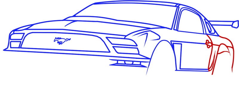 Learn easy to draw Ford GT step 09