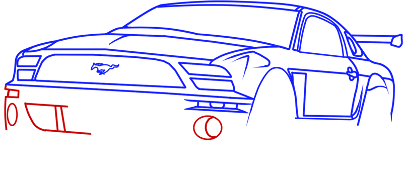 Learn easy to draw Ford GT step 10
