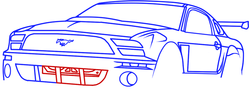 Learn easy to draw Ford GT step 11