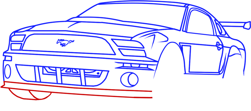 Learn easy to draw Ford GT step 12