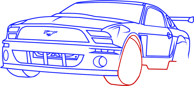 Learn easy to draw Ford GT step 13
